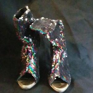 Rainbow Sequin Open Toe Heels Size 8.5